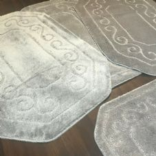 ROMANY WASHABLES TRAVELLER MATS SET OF 4 NON SLIP SUPER THICK RUGS SILVER GREY